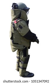 Bomb suit for EOD team isolated on white background with clipping path