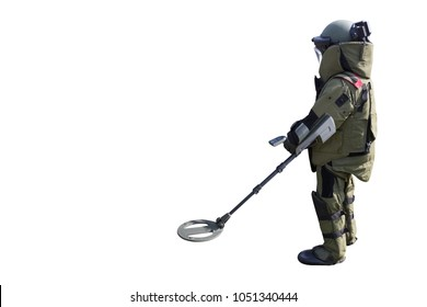 Bomb suit for EOD team with metal detector isolated on white background with clipping path