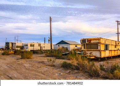 Bombay Beach, Salton Sea, California, USA - April 6, 2017: Old abandoned and ruined rusty travel trailer in Bombay Beach, Salton Sea, California, United States.
