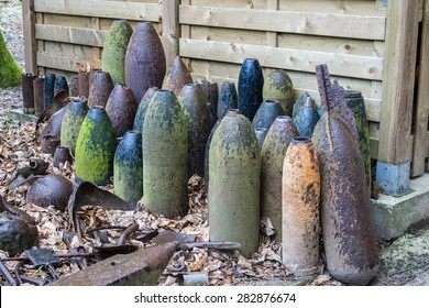 bombs and grenades from World War 1 in Flanders Belgium