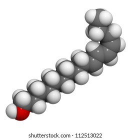 Bombykol pheromone molecule, chemical structure. Bombykol is a female silkworm moth pheromone.