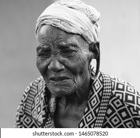 Bomet, Kenya - December 26,2015: A photo of an elderly woman with traditionally pierced ears