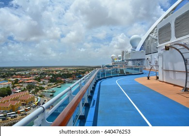 BONAIRE, CARIBBEAN - MARCH 26, 2017 : Jogging track on Royal Princess ship docked in Bonaire. Royal Princess is operated by Princess Cruises line and has a capacity of 3600 passengers