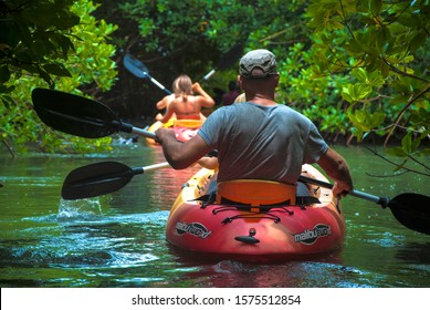 Bonaire / Dutch Caribbean - April 15, 2017: A group of tourists sets off for a guided kayak tour in the Lac Bai Mangrove Reserve