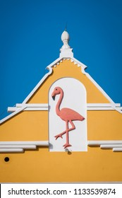 Bonaire, Netherlands Antilles, July 2012: Flamingo emblem on building in Kralendijk, capital of Bonaire, Netherlands Antilles