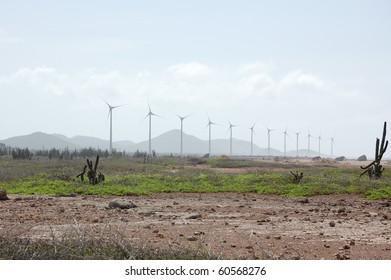 Bonaire windmills provide power to the island.