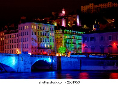 Bonaparte bridge and the old town (fourviere hill)  during light fest