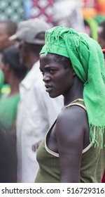 BONATA VILLAGE, OMO VALLEY. ETHIOPIA - JANUARY 2, 2014: Unidentified Ari woman at local village market.
