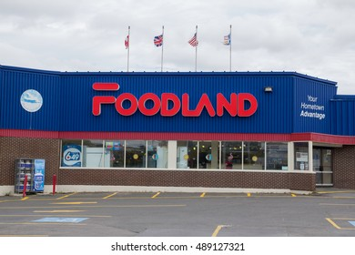 Bonavista, Newfoundland - September 11, 2016: Entrance to the Foodland store in Bonavista, Newfoundland. Foodland is one of the largest supermarkets in Newfoundland.