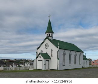 BONAVISTA, NEWFOUNDLAND/CANADA - JULY 28, 2018: Exterior of the historic Saint Joseph's Roman Catholic Church on Chapel Hill in Bonavista