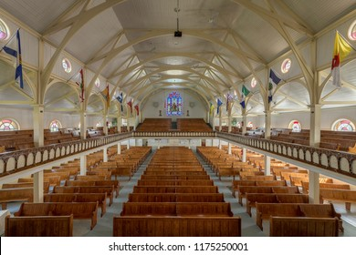 BONAVISTA, NEWFOUNDLAND/CANADA - JULY 28, 2018: Interior of the Memorial United Church from the balcony at 35-37 Church Street in Bonavista