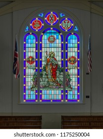 BONAVISTA, NEWFOUNDLAND/CANADA - JULY 28, 2018: Stained glass window inside the Memorial United Church on Church Street in Bonavista