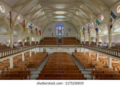 BONAVISTA, NEWFOUNDLAND/CANADA - JULY 28, 2018: Interior of the Memorial United Church from the balcony on Church Street in Bonavista