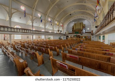 BONAVISTA, NEWFOUNDLAND/CANADA - JULY 28, 2018: Interior of the Memorial United Church on Church Street in Bonavista