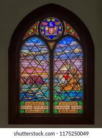 BONAVISTA, NEWFOUNDLAND/CANADA - JULY 28, 2018: John Cabot stained glass window inside the Mockbeggar Plantation library on Roper Street in Bonavista