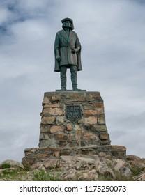 BONAVISTA, NEWFOUNDLAND/CANADA - JULY 28, 2018: A bronze statue of the explorer John Cabot at Cape Bonavista in Bonavista