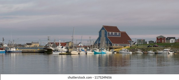 BONAVISTA, NEWFOUNDLAND/CANADA - JULY 29, 2018: Early morning light at Bonavista Harbour from Campbell Street in Bonavista