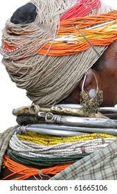 Bonda tribal women offer their handmade crafts at the weekly market   in Ankadeli, Orissa in India