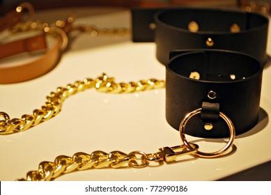 Bondage sadomasochism sex games erotic handcuffs and leather bdsm dominance whip