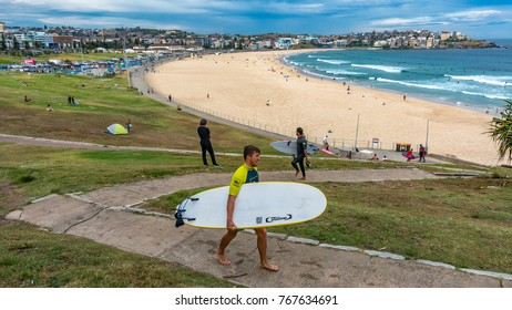 Bondi Beach, Australia. Sydney, Australia - Jan 20, 2017. People relaxing, swimming and sun bathing at Sydney's Bondi beach.  The popular seaside village is one of the world's most famous beaches.
