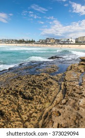 Bondi Beach from the rocky headland. Bondi Beach is one of Australia's and the worlds most famous beaches.