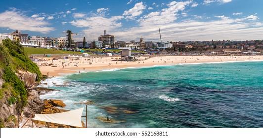 Bondi Beach in Sydney on a sunny day.