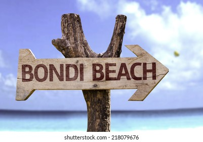 Bondi Beach wooden sign with a beach on background