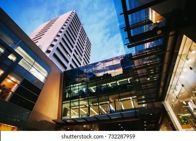 Bondi junction district, skyscraper at sunset, shooping center, Sydney, Australia.