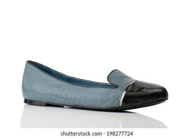 Bondie blue women shoe isolated on white background.
