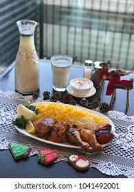 Bone-in Chicken Kabob in a Persian restaurant. (joje kabab)