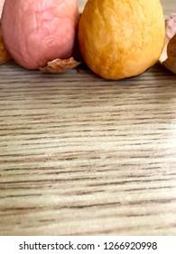 Boneless avocado seed on the table.