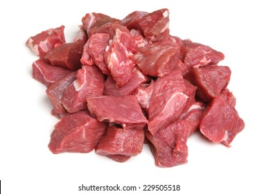Boneless lamb steak meat, diced for making into kebabs.