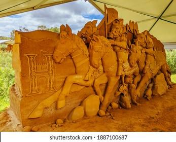 Boneo, Australia - January 3rd 2021: Boneo Discovery Park on a warm sunny day with Animalia sand sculpture exhibition in the Mornington Peninsula, Victoria, Australia