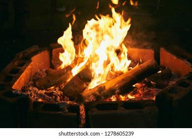 bonfire around bricks