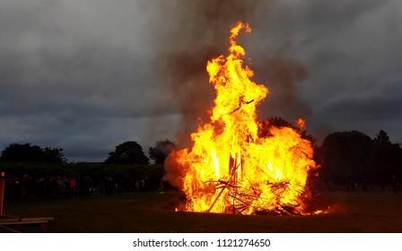 Bonfire burning with huge flames