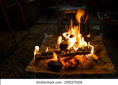 Bonfire at a camp outdoors
