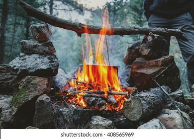 bonfire cooking