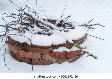 bonfire cover with snow