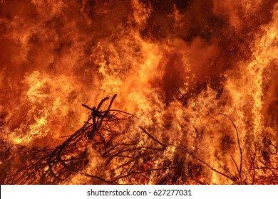 Bonfire with flames and smoke, Easter fire