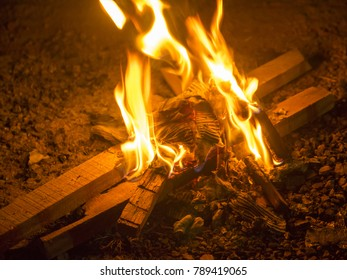 Bonfire in India on winter and cold season to warm up body temperature