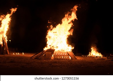 Bonfire at Jewish holiday of Lag Baomer, the day of commemorate the death of Rabbi Shimon Bar Yochai