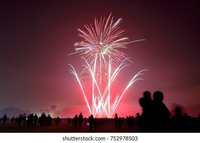 Bonfire night celebrations with a fireworks show at Sefton Park, Liverpool, UK. On 5th November