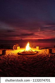 Bonfire on a beach in Gili Trawangan Island in Lombok, Indonesia