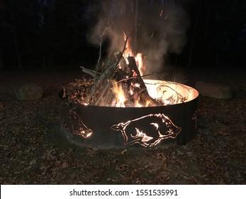 Bonfire in the Razorback fire pit