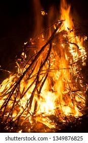 Bonfire of San Antonio party in Teruel province. Spain