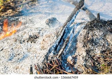 Bonfire with smoke close up