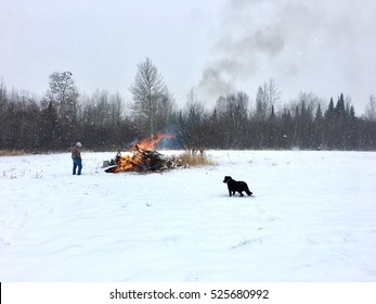 Bonfire in the Snow - Northern Minnesota Pass Time - Littlefork