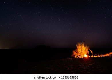 Bonfire in a starry night in the Thar Desert near Jaisalmer, Rajasthan, India
