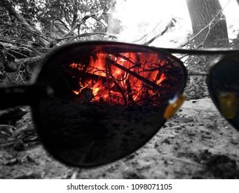 Bonfire through the sunglasses