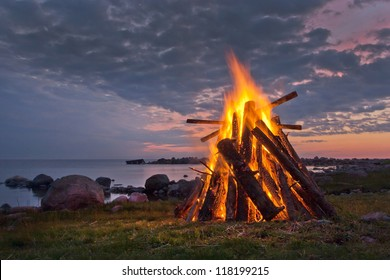 Bonfire in a white summer night
